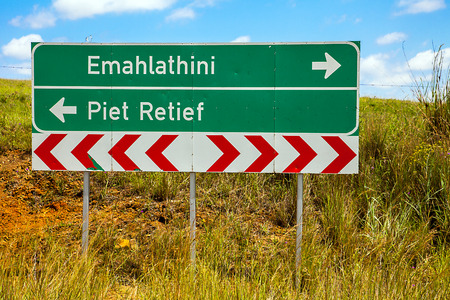 apartheid in south africa: .According To Emahlathini or Piet Retief? Stock Photo