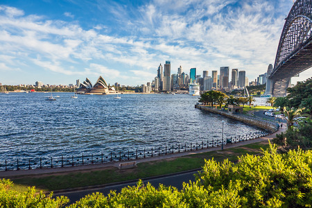 View of Sydney with Harbor Bridge New South Wales Australia Stock Photo