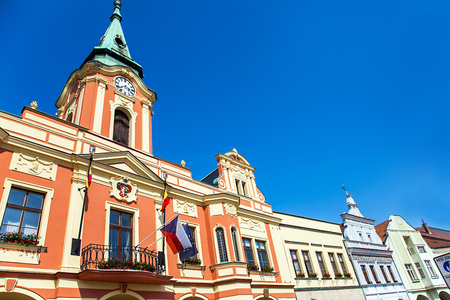 Facade of historic houses on the market square of Bohemia Czech Republic