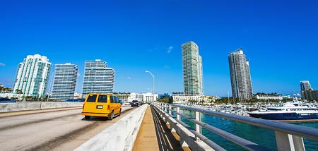 Taxi on a bridge in Miami Florida USA Stock Photo