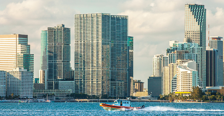 Boat of the Coast Guard in front of the skyline of Miami Florida USA
