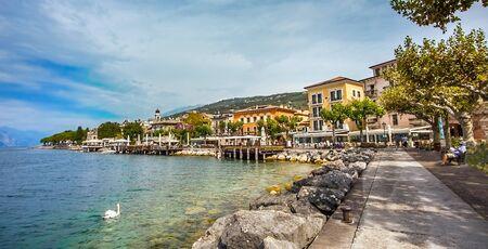 View of Torri Del Benaco on Lake Garda Veneto Italy Stock Photo