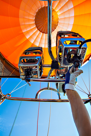 Ballooning with a hot air balloon in Germany Stock Photo