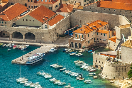 View of the harbor and the old town of Dubrovnik Croatia Stock Photo