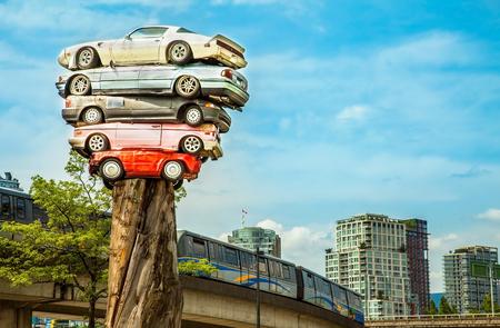 Scrap cars in Vancouver Canada Editorial