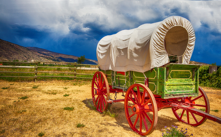 Old wagon in British Columbia Canada Stockfoto