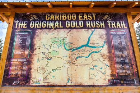 Williams Lake British Columbia Canada on 06132018 Blackboard from the Cariboo East Gold Rush Trail