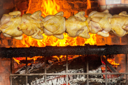 Charcoal chickens gril in San Jose Costa Rica