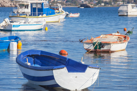 Fishing boats in a harbor in Greece