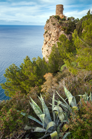 View of the watchtower Torre del Verger at Banyalbufar Mallorca Spain Imagens