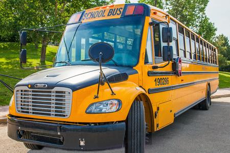 Grande Prairie Alberta Canada on June 22, 2018. School bus in Grande Prairie