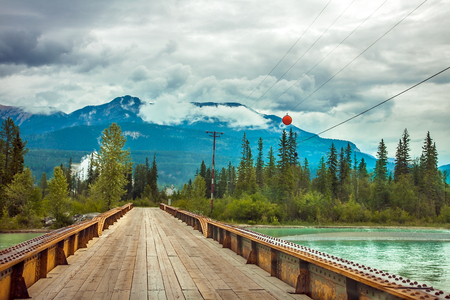 Bridge over the Kicking Horse River at Golden British Columbia Canada