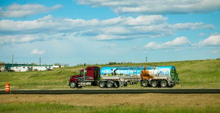 Edmonton Alberta Canada June 26, 2018 Truck on the highway Editorial