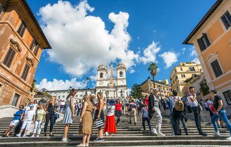 At the Spanish Steps Scalinata di Trinita dei Monti in Rome Italy Lazio Редакционное