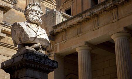 The bust of Giosue Carducci in front of the Convitto Palmieri library on the Piazzetta Carducci in Lecce Puglia Italy