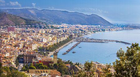 View of Salerno and the Gulf of Salerno Campania Italy Фото со стока