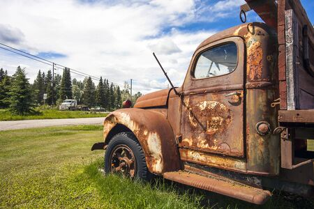 Prince George British Columbia Canada on June 15th 2018 Old truck on the roadside