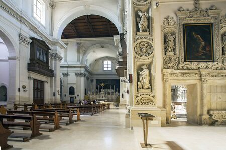 Lecce Apulia Italy on October 14, 2019 in the historic church of Sant'Irene the Theatine
