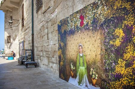 Monopoli Apulia Italy 16 October 2019 Mural on a wall at the old port