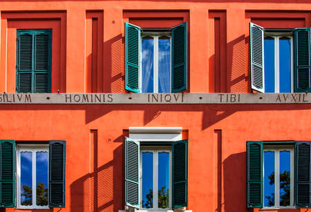 Rome Lazio Italy on 10/06/2019 Window with shutters on a house facade