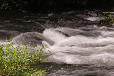 Long exposure shot of a mexican rain forest torrent