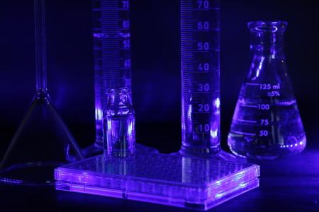 lab equipment sterilizing in UV light Stock Photo