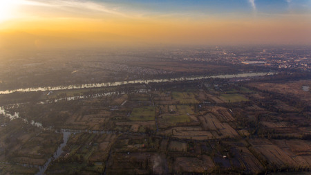 Xochimilco, famous wetlands from Mexico City, Aerial view