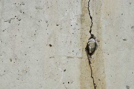fissure: Cracked concrete wall with long fissure