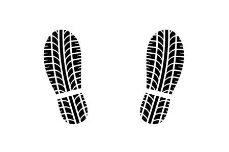 combined: Footprint of shoes with tire tread pattern Stock Photo