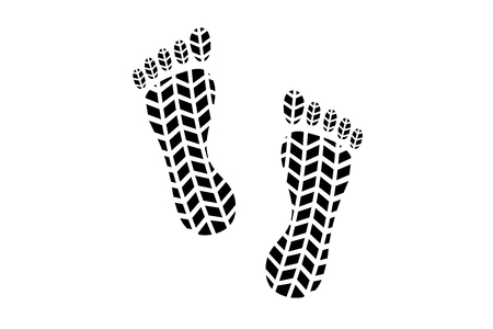 Barefoot footprint with tire tread pattern