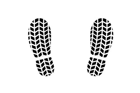 Footprint of shoes with tire tread pattern Stock Photo