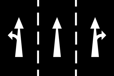 White arrows and lines on black background - freeway exit Stock Photo