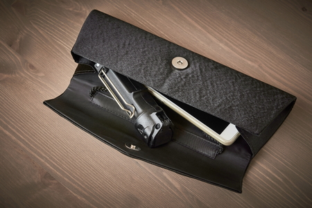 self defense - pepper spray in a womans handbag