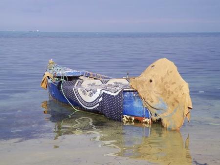 bon: Fishing boat in Tunisia, Cap Bon, North coast. Stock Photo