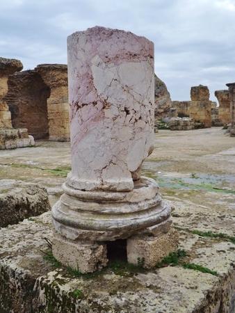 roman column: Tunisia, ruins of Carthage. Roman column.
