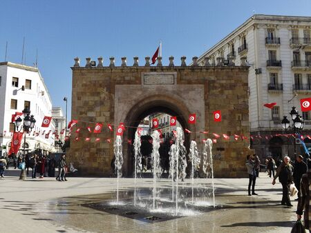 Tunis, Porte de France. Porte de France, the gate between the Medina and the new town, in January 2015, a few days before the 4th anniversary of the revolution will be Celebrated - on 01-14-2015.