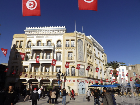 medina: Tunis Medina. The busy Place de la Victoire on the rim of the Medina. Editorial