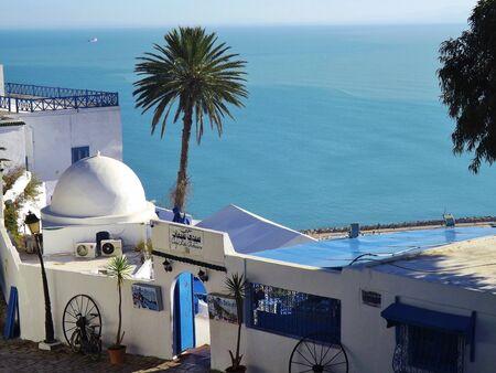 sidi bou said: Sidi Bou Said, near Tunis. Coffee shop with beautiful view on the sea. Taken in January 2015th
