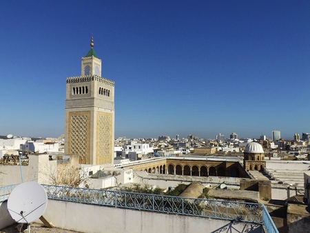 View on the Al-Zaytuna Mosque and the skyline of Tunis. In the background the modern buildings of the new City