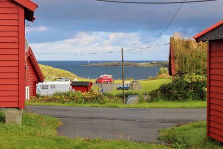 Camping site in Norway, Scandinavia, on the Western Coast near the town of Haugesund. A caravan in front of the North Sea. Stock Photo