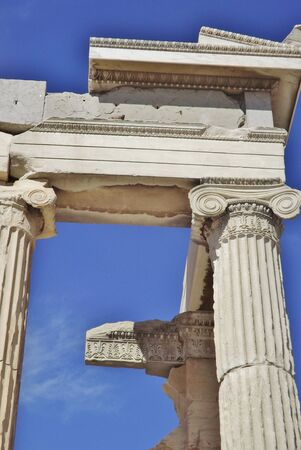 The Acropolis in Athens, Greece. Detail of the Parthenon: columns, capitals and frieze.