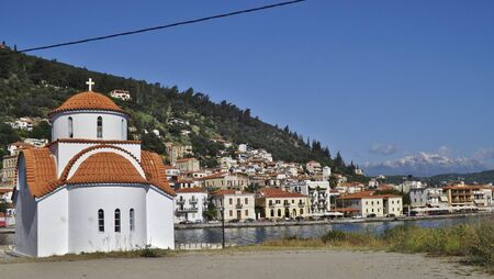 Gythion on the Peloponnese, Greece, Europe. View of a Greek Orthodox church and the town of Gythion.