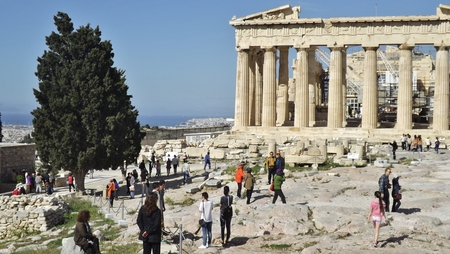ATHENS, GREECE - MAY 1, 2014. The Parthenon of the Acropolis in Athens, Greece, with the city in the background.