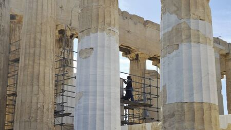 ATHENS, GREECE - MAY 1, 2014. Building site Acropolis: Restoration works on the Parthenon, Athens, Greece. Editorial
