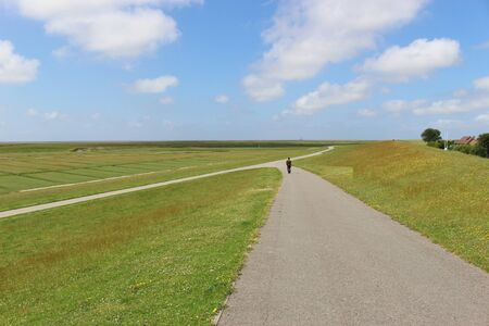 Wide, open landscape in the Schleswig-Holstein Wadden Sea National Park, Northern Germany.