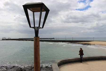 On the beach of Arrecife, capital of Lanzarote, Canary Islands, Spain Stock Photo