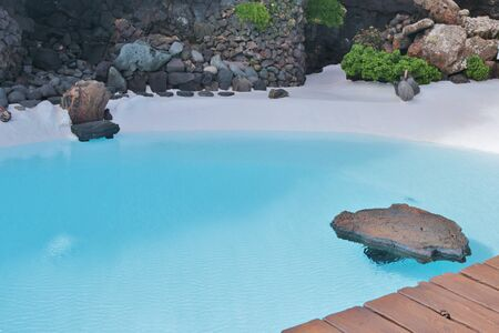 contemplation: A place of contemplation: Deep blue pool in Jameos del Agua. Lanzarote, Canary Islands, Spain.