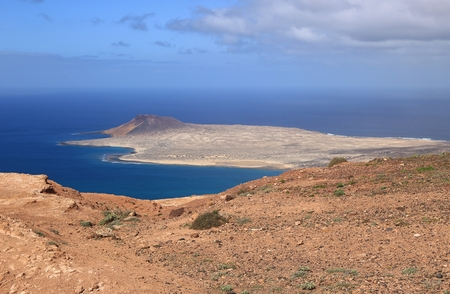 View of the Isle La Graciosa from Northwest Lanzarote. Canary Islands, Spain. Stock Photo