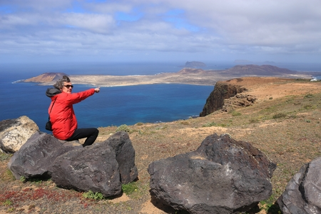 Panoramic view on Northwest Lanzarote: on a high plateau of the Chinijo Archipelago nature park. View of the sea and the Isle of La Graciosa.