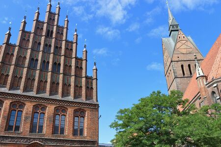 old town hall: Market church and old town hall in gothic style in Hanover, North Germany. The Evangelical Lutheran Church St. Georgii et Jacobi is a landmark of the city. Stock Photo